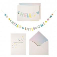 Meri Meri - Lykønskningskort med guirlande - Babykort - Hello Little One