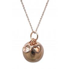 Bola - Graviditetssmykke - Rosa forgyldt smykkekugle med charms - Krystal sten og hjerte