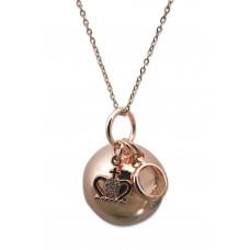 Bola - Graviditetssmykke - Rosa forgyldt smykkekugle med charms - Krystal sten og krone