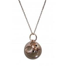 Bola - Graviditetssmykke - Rosa forgyldt smykkekugle med charms - Krystal sten og sommerfugl