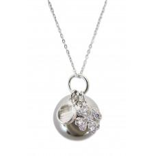 Bola - Graviditetssmykke - Sølv smykkekugle med charms - Krystal sten og firkløver