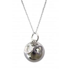 Bola - Graviditetssmykke - Sølv smykkekugle med charms - Krystal sten og hjerte
