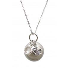 Bola - Graviditetssmykke - Sølv smykkekugle med charms - Krystal sten og krone