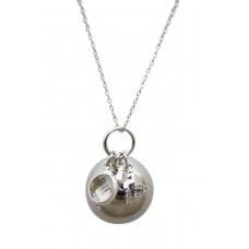 Bola - Graviditetssmykke - Sølv smykkekugle med charms - Krystal sten og sommerfugl