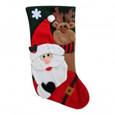 Julesok - Grøn - Med julemand og rensdyr