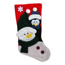 Julesok - Rød - Med snemand og pingvin