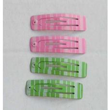 Hårspænder - Sammenpak - Lyserød & grøn med striber