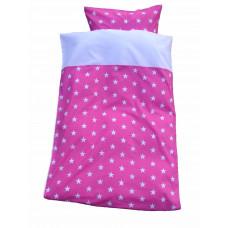 Baby sengetøj - Hvide stjerner - Pink