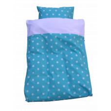 Baby sengetøj - Hvide stjerner - Turkis