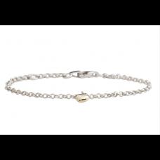Nordahl Andersen - Armbånd sølv - med guld hjerte 8 karat