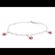 Nordahl Andersen - Armbånd sølv - med 3 mariehøns