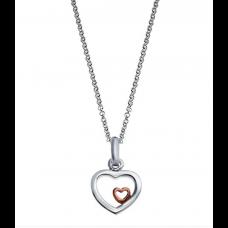 Nordahl Andersen - Vedhæng sølv - Hjerte med lille hjerte