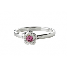 Nordahl Andersen - Ring sølv - blomst med lyserød sten