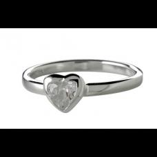 Nordahl Andersen - Ring sølv - Hjerte med hvid zirkonia