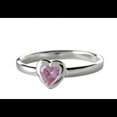 Nordahl Andersen - Ring sølv - hjerte med pink zirkonia