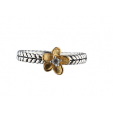 Nordahl Andersen - Ring sølv - ox. flet, blomst med hvid sten