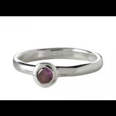 Nordahl Andersen - Ring sølv - rund med lilla sten