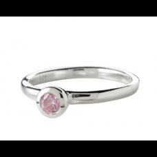 Nordahl Andersen - Ring sølv - rund med lyserød sten