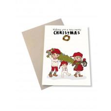 Mouse & Pen - Julekort - Julebørn og juletræ