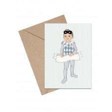 Mouse & Pen - Lykønskningskort - Lille harlekin dreng