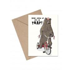 Mouse & Pen - Lykønskningskort - Don't grow up it's a TRAP