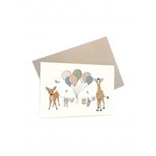 Mouse & Pen - Lykønskningskort - Babydyr med balloner