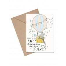 Mouse & Pen - Lykønskningskort - Luftballon med babydyr