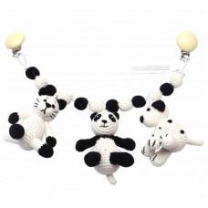Naturezoo - Hæklet barnevognskæde Øko-Tex - Frk. Kat, Sir Panda & Hr. Hund