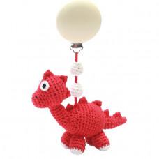 Naturezoo - Hæklet barnevognsophæng Øko-Tex - Dino rød