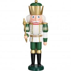 Julepynt - Nøddeknækker - Konge 40 cm - Grøn og hvid