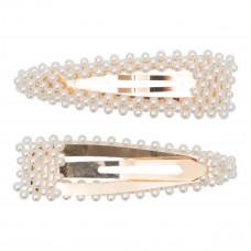Little Wonders - Guld hårspænde med hvide perlemors perler - Judith 9 cm