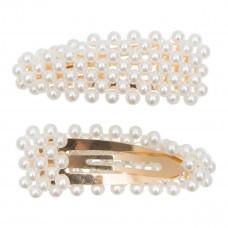 Little Wonders - Guld hårspænde med hvide perlemors perler - Lea 9 cm