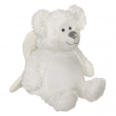 Personlig bamse - Evt. med navn, data eller tekst som ekstra tilvalgsmulighed - 41 cm - Isbjørn engel