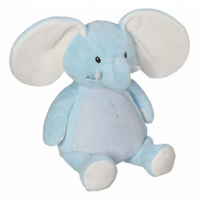 Personlig bamse - Evt. med navn, data eller tekst som ekstra tilvalgsmulighed - 41 cm - Elefant - Lyseblå