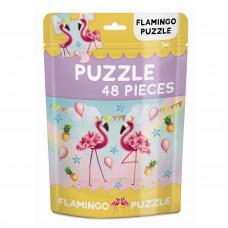 Karrusel forlag - Puslespil i pose - 48 brikker - Flamingo