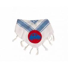 Bandana - Partisan tørklæde - Hvid og Blå med en Bil
