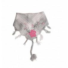 Bandana - Partisan tørklæde - Grå med rosa blomster