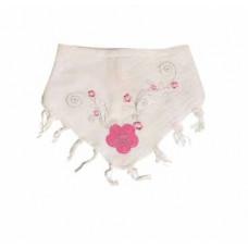 Bandana - Partisan tørklæde - Hvid med rosa blomster