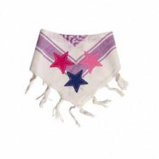 Bandana - Partisan tørklæde - Hvid og lilla med stjerner
