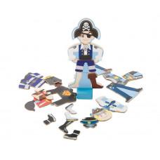 Sebra - Magnet Påklædningsdukke - Sej dreng