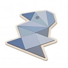 Sebra - Geometri puslespil i træ - Fugl - Pastel blå