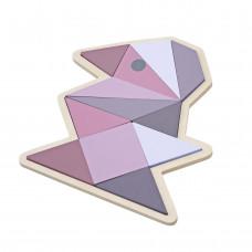 Sebra - Geometri puslespil i træ - Fugl rosa