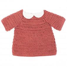 Sebra - Hæklet dukketøj - Dukkekjole - Clay red