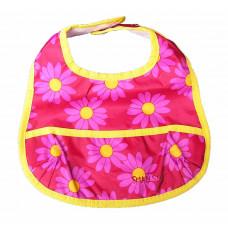 Smallstuff - Spisesmæk med lomme - Rød med daisy blomst
