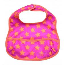 Smallstuff spisesmæk med lomme -  pink med orange stjerner