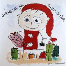 Tusindfryd - Julekort - Glad nisse med gaver