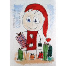 Tusindfryd - Julekort - Glad nisse med gaver stort kort