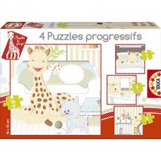 Sophie La Girafe - Puslespil - 4 Forskellige Motiver