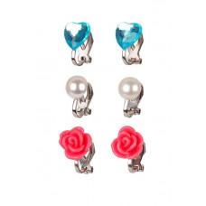 Souza - Børnesmykker - Øreringe med clips - Hjerter, blomster og perler - Pink og tyrkis