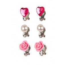 Souza - Børnesmykker - Øreringe med clips - Hjerter, blomster og perler - Pink